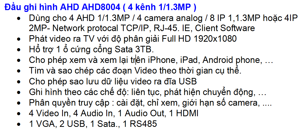 AHD 8004 AHD