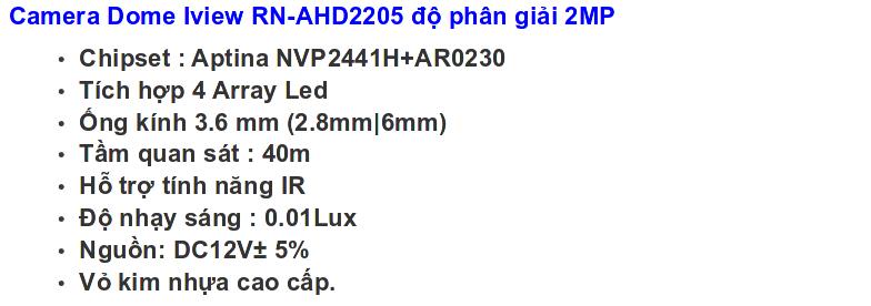 Bo iview RN-AHD2205 2MP