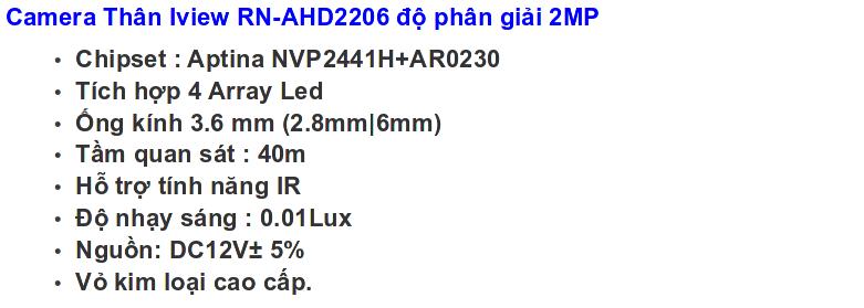 bo iview Rn-AHD2206 2MP