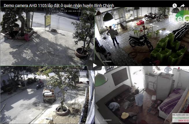 Demo camera AHD 1105 lắp đặt ở quán nhận huyện Bình Chánh