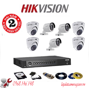 Trọn Bộ 7 Camera  Hikvision Ds-2Ce56C0T-Irp Hd720P( 1.0Mp)-DS-2CE16D0T-IR(7bo)