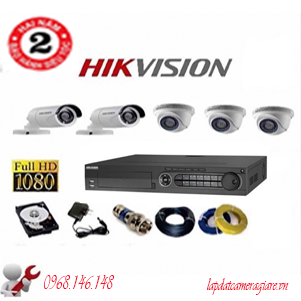 Trọn 5 Bộ Camera  Hikvision Ds-2Ce56C0T-Irp Hd720P( 1.0Mp)-DS-2CE56C0T-IR5bo