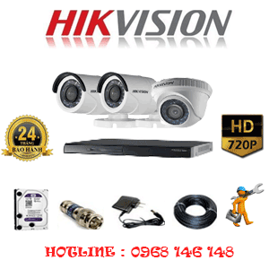 Lắp Đặt Trọn Bộ 3 Camera Hikvision 1.0Mp (Hik-11122)-HIK-11122