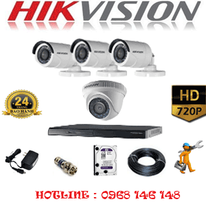 Lắp Đặt Trọn Bộ 4 Camera Hikvision 1.0Mp (Hik-11132)-HIK-11132