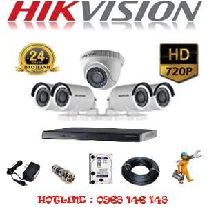Lắp Đặt Trọn Bộ 5 Camera Hikvision 1.0Mp (Hik-11142)-HIK-11142