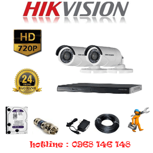 Lắp Đặt Trọn Bộ 2 Camera Hikvision 1.0Mp (Hik-12200)-HIK-12200