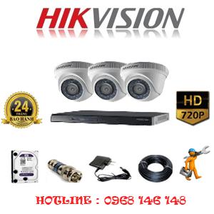 Lắp Đặt Trọn Bộ 3 Camera Hikvision 1.0Mp (Hik-13100)-HIK-13100