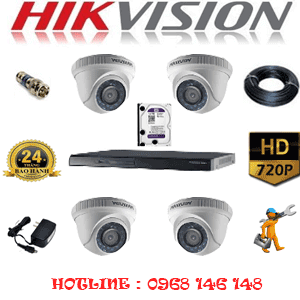 Lắp Đặt Trọn Bộ 4 Camera Hikvision 1.0Mp (Hik-14100)-HIK-14100