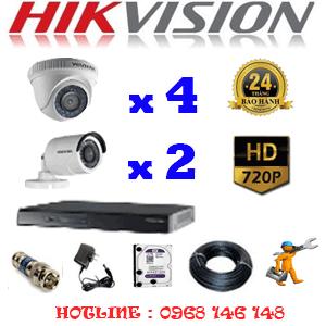 Lắp Đặt Trọn Bộ 6 Camera Hikvision 1.0Mp (Hik-14122)-HIK-14122