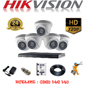 Lắp Đặt Trọn Bộ 5 Camera Hikvision 1.0Mp (Hik-15100)-HIK-15100