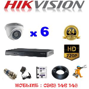 Trọn Bộ 6 Camera Hikvision 1.0Mp (Hik-16100)-HIK-16100