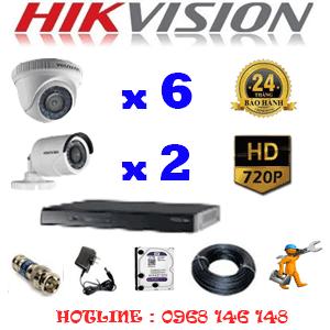 Trọn Bộ 8 Camera Hikvision 1.0Mp (Hik-16122)-HIK-16122