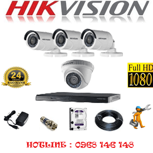 Lắp Đặt Trọn Bộ 4 Camera Hikvision 2.0Mp Lite (Hik-21334)-HIK-21334