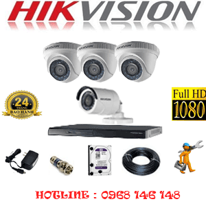 Lắp Đặt Trọn Bộ 4 Camera Hikvision 2.0Mp Lite (Hik-23314)-HIK-23314