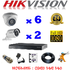 Trọn Bộ 8 Camera Hikvision 2.0Mp Lite (Hik-26324)-HIK-26324