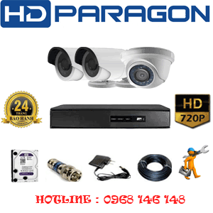 TRỌN BỘ 3 CAMERA HDPARAGON 1.0MP (PRG-11122)-PRG-11122