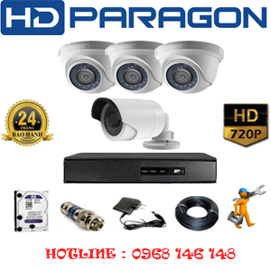TRỌN BỘ 4 CAMERA HDPARAGON 1.0MP (PRG-13114)-PRG-13112