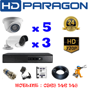 TRỌN BỘ 8 CAMERA HDPARAGON 1.0MP (PRG-15132)-PRG-15132