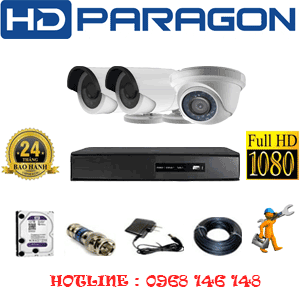 TRỌN BỘ 3 CAMERA HDPARAGON 2.0MP LITE (PRG-21324)-PRG-21324