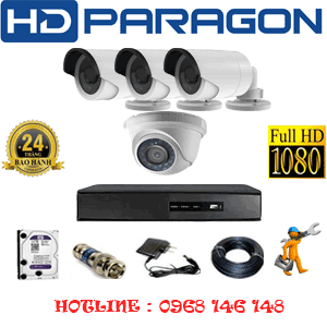 TRỌN BỘ 4 CAMERA HDPARAGON 2.0MP LITE (PRG-21334)-PRG-21334