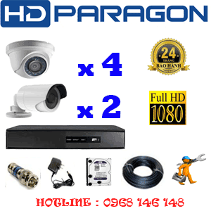 TRỌN BỘ 6 CAMERA HDPARAGON 2.0MP LITE (PRG-24324)-PRG-24324