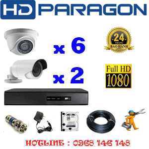 TRỌN BỘ 8 CAMERA HDPARAGON 2.0MP LITE (PRG-26324)-PRG-26324
