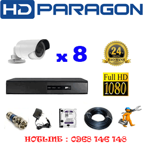 Lắp Đặt Trọn Bộ 8 Camera Hdparagon 2.0Mp Lite (Prg-28400)-PRG-28400