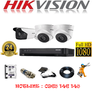 Lắp Đặt Trọn Bộ 3 Camera Hikvision 2.0Mp (Hik-22718)-HIK-22718