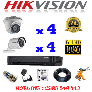 Lắp Đặt Trọn Bộ 8 Camera Hikvision 2.0Mp (Hik-24344F)-HIK-24344F