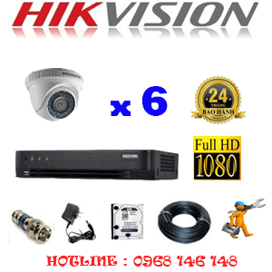 Lắp Đặt Trọn Bộ 6 Camera Hikvision 2.0Mp (Hik-26300F)-HIK-26300F