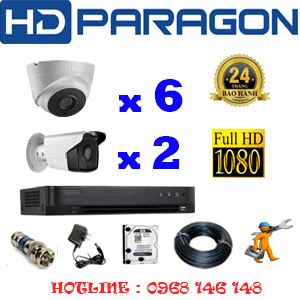 TRỌN BỘ 8 CAMERA HDPARAGON 2.0MP (PRG-26728)-PRG-26728