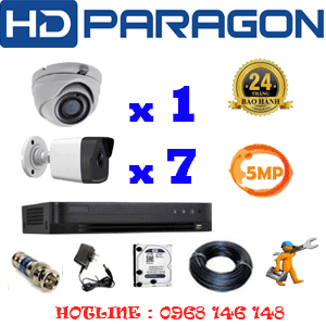 Lắp Đặt Trọn Bộ 8 Camera Hdparagon 5.0Mp (Prg-51576)-PRG-51576