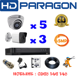 TRỌN BỘ 8 CAMERA HDPARAGON 5.0MP (PRG-55536)-PRG-55536