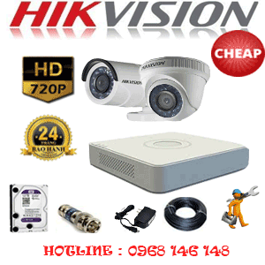 TRỌN BỘ 2 CAMERA CHEAP HIKVISION 1.0MP (HIK-11112C)-HIK-11112C
