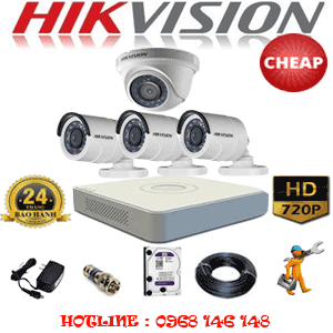 TRỌN BỘ 4 CAMERA CHEAP HIKVISION 1.0MP (HIK-11132C)-HIK-11132C