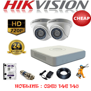 TRỌN BỘ 2 CAMERA CHEAP HIKVISION 1.0MP (HIK-12100C)-HIK-12100C