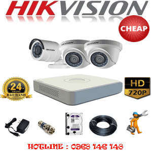 Trọn Bộ 3 Camera Cheap Hikvision 1.0Mp (Hik-12112C)-HIK-12112C