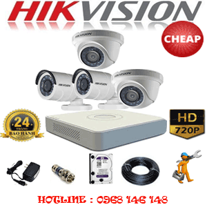 TRỌN BỘ 4 CAMERA CHEAP HIKVISION 1.0MP (HIK-12122C)-HIK-12122C