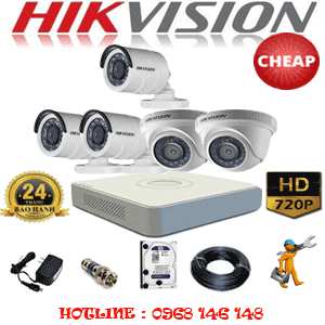 TRỌN BỘ 5 CAMERA CHEAP HIKVISION 1.0MP (HIK-12132C)-HIK-12132C