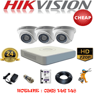 TRỌN BỘ 3 CAMERA CHEAP HIKVISION 1.0MP (HIK-13100C)-HIK-13100C