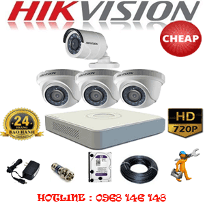 TRỌN BỘ 4 CAMERA CHEAP HIKVISION 1.0MP (HIK-13112C)-HIK-13112C