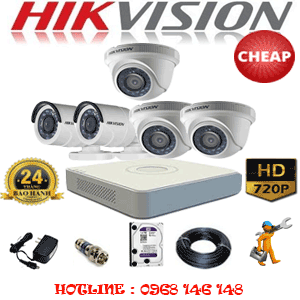 TRỌN BỘ 5 CAMERA CHEAP HIKVISION 1.0MP (HIK-13122C)-HIK-13122C