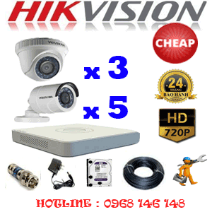 TRỌN BỘ 8 CAMERA CHEAP HIKVISION 1.0MP (HIK-13152C)-HIK-13152C
