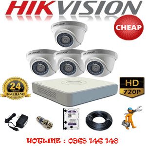 TRỌN BỘ 4 CAMERA CHEAP HIKVISION 1.0MP (HIK-14100C)-HIK-14100C