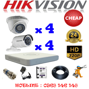 TRỌN BỘ 8 CAMERA CHEAP HIKVISION 1.0MP (HIK-14142C)-HIK-14142C