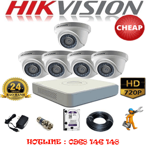TRỌN BỘ 5 CAMERA CHEAP HIKVISION 1.0MP (HIK-15100C)-HIK-15100C