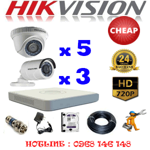 TRỌN BỘ 8 CAMERA CHEAP HIKVISION 1.0MP (HIK-15132C)-HIK-15132C