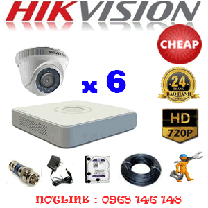 TRỌN BỘ 6 CAMERA CHEAP HIKVISION 1.0MP (HIK-16100C)-HIK-16100C