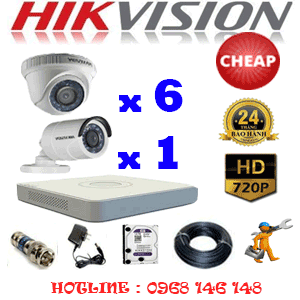 TRỌN BỘ 7 CAMERA CHEAP HIKVISION 1.0MP (HIK-16112C)-HIK-16112C
