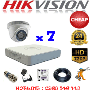 TRỌN BỘ 7 CAMERA CHEAP HIKVISION 1.0MP (HIK-17100C)-HIK-17100C